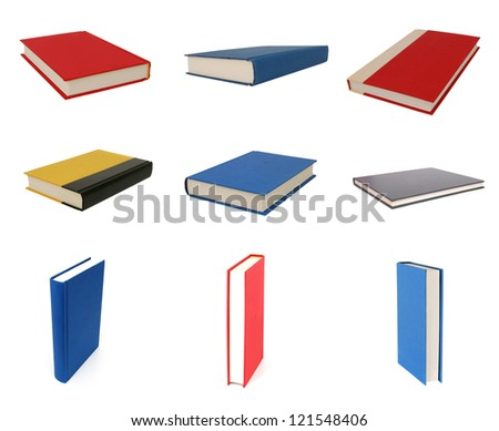 Collection books  on white background - stock photo