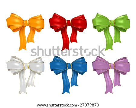 Collection bows isolated on white background