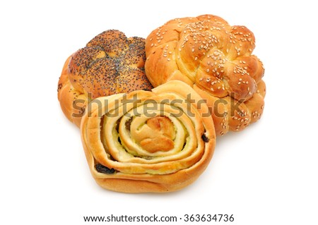 collection buns isolated on a white background - stock photo