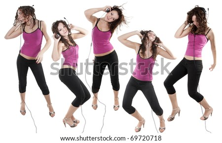 collection cheerfull young lady dancing with headphones - stock photo
