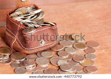 Collection coin pocket with savings.
