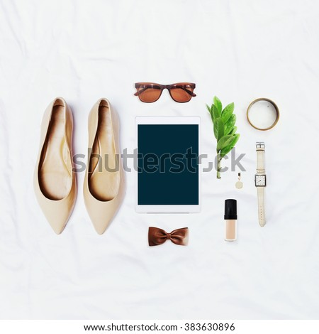collection collage of women's accessories - stock photo