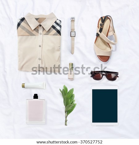 collection collage of women's clothing - stock photo