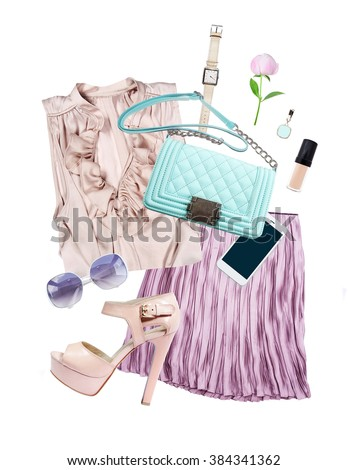 collection collage of women's clothing isolated white background - stock photo
