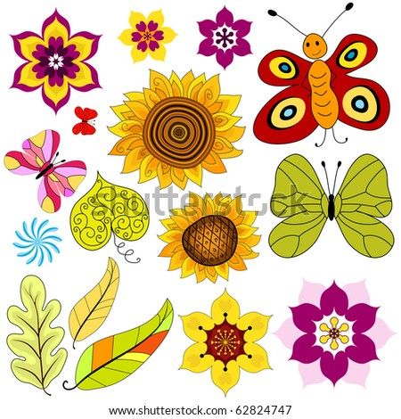 Collection decorative  isolated flowers and  butterflies on white