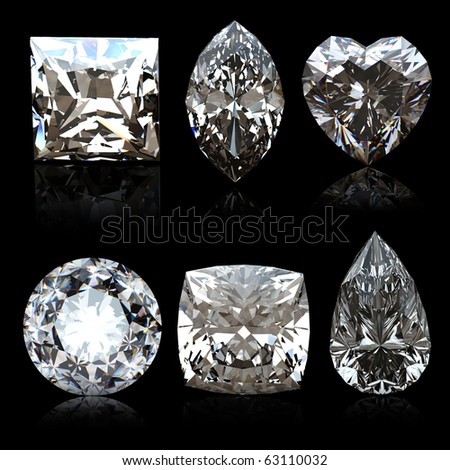 Collection diamonds diferent shapes  on black background. - stock photo