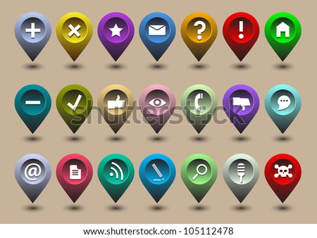 Collection different web icons in the form of GPS icons. Raster version