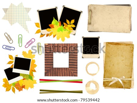 Collection elements for scrapbooking. Objects isolated over white - stock photo