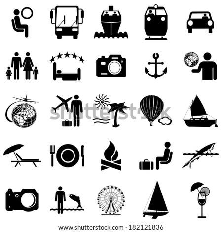 Collection flat icons. Travel symbols.  illustration. - stock photo