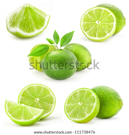 Collection Fresh lime and slice, Isolated on white background - stock photo