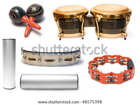 Collection from five musical instruments on white background - stock photo