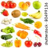 Collection from fruits and vegetables on white - stock photo