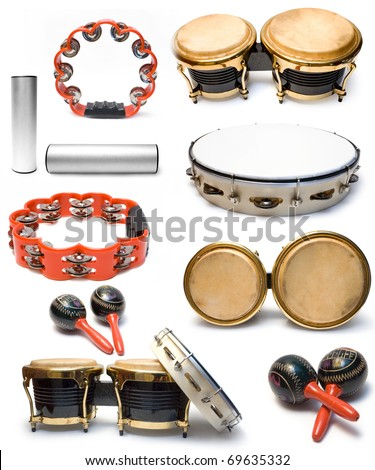 Collection from percussion musical instruments on white background - stock photo