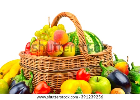 collection fruit and vegetable in basket isolated on white background - stock photo