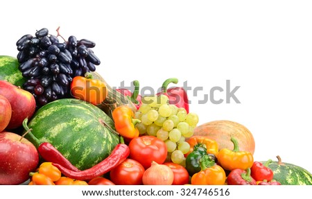 Collection fruit and vegetables isolated on white