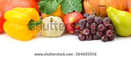 Collection fruit and vegetables isolated on white - stock photo