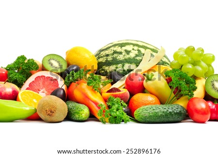 Collection fruit and vegetables on white - stock photo