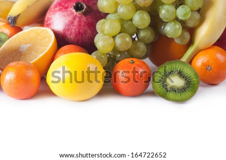 collection fruits  on a white background