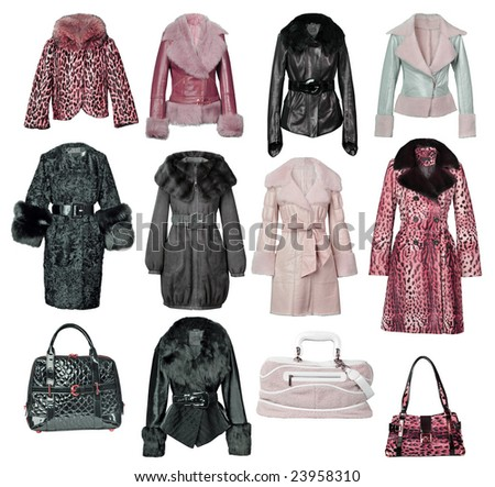 collection fur coat - stock photo