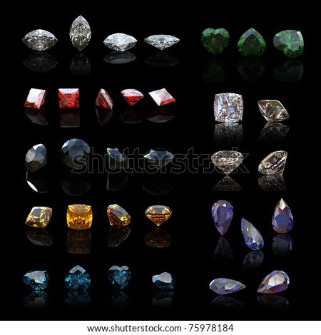 Collection gems diferent shapes  on black background.. Gemstone