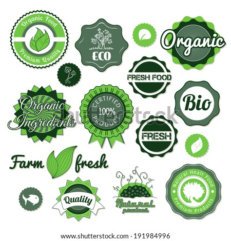 Collection green  labels, badges and icons, bio eco natural certified fresh theme, vintage retro grunge set