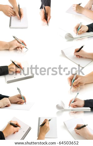collection hands with pen and writing on the page and notebook isolated on white