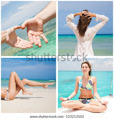 Collection image of happy time while summer holiday - stock photo