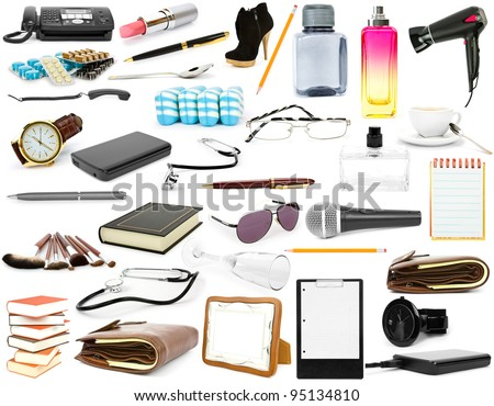 collection isolated objects on a white background - stock photo