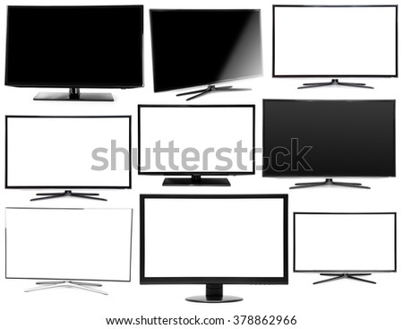 collection 4k monitor isolated on white - stock photo
