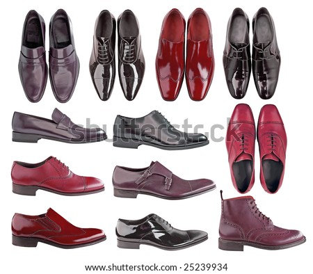collection men leather shoes - stock photo