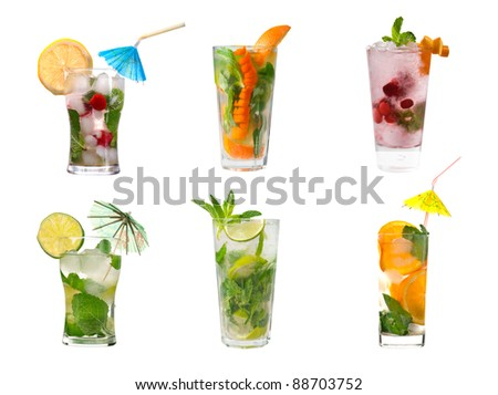 collection mojito  Alcoholic cocktails .isolated on white background. - stock photo