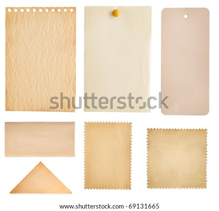 collection note paper, stamp and tag isolated on white - stock photo