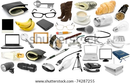collection object isolated on a white background - stock photo