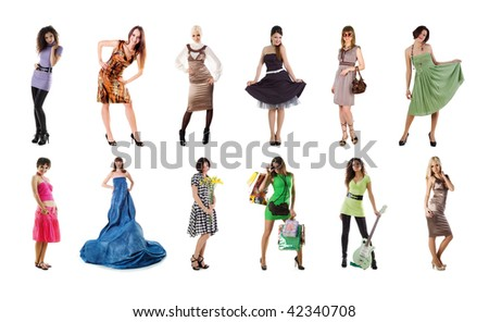Collection of a beautiful woman photos on white background - stock photo
