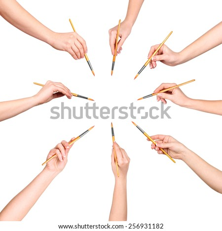 collection of a lot of hands with brush isolated on white background - stock photo