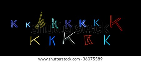 collection of a number of different neon letter K isolated on black - part of a series of neon letters - stock photo