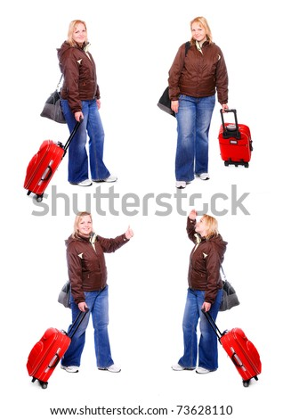 Collection of a pictures a girl going on vacation with her suitcase in different position. - stock photo