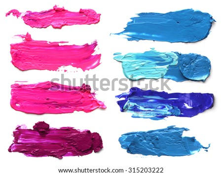 Collection of abstract acrylic brush strokes. - stock photo