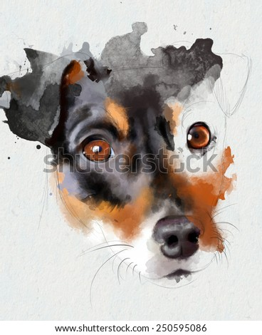 Collection of animals: the Jack Russell Terrier. Portrait isolated on white background. Watercolor illustration - stock photo
