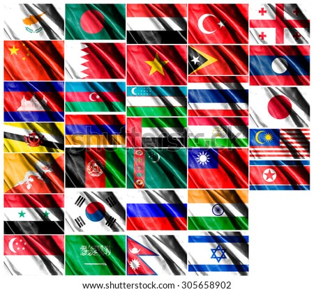 Collection of Asia Flags on smooth silk texture on white background