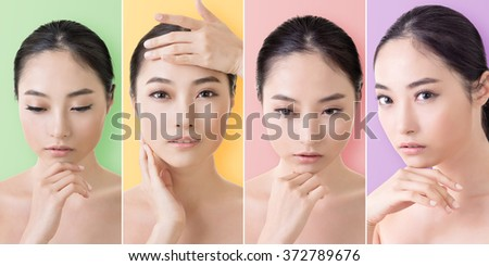 Collection of Asian beauty face, closeup portrait with clean and fresh elegant lady. - stock photo
