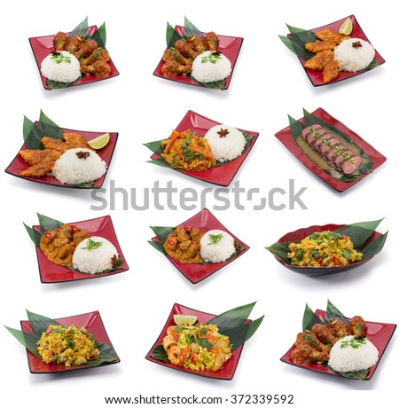 Collection of asian food dishes. Including sweet and sour chicken, seafoods, vegetables , curry and else. - stock photo