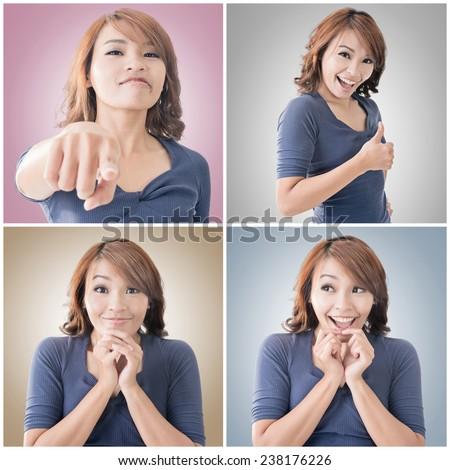 Collection of Asian woman face, closeup portrait. - stock photo
