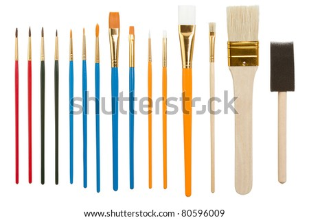 Collection of Assorted Paintbrushes Isolated on a White Background - stock photo