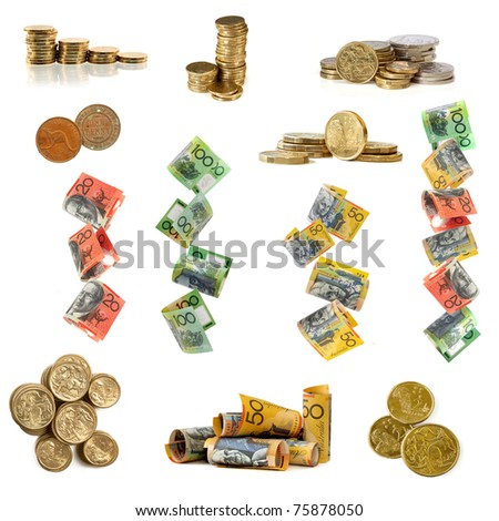Collection of Australian money images, isolated white. - stock photo