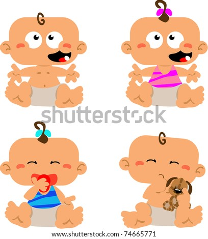 Collection of babies excited about life - stock photo