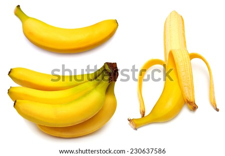 Collection of bananas isolated on white background - stock photo