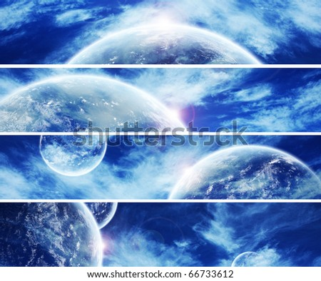 Collection of 5 banners for website : Heaven Space theme - stock photo