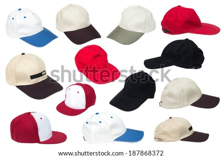 Collection of baseball caps isolated on a white background. - stock photo