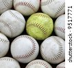collection of baseballs - stock photo